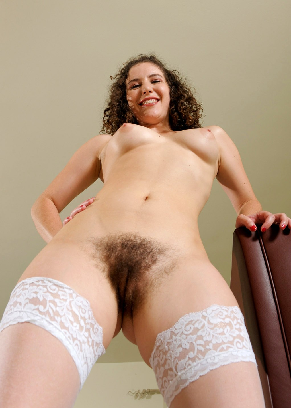 Topless brunette hairy mom with