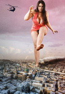 barefoot bobbob city cleavage collage daphne daphne_rosen destruction giantess helicopter looking_at_viewer mega_giantess raised_foot rawr stomp // 2636x3776 // 2.8MB