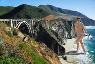 barefoot beach bridge cleavage collage giantess kelly_brook mountains sand shoreline swimsuit wonderslug // 3872x2592 // 2.5MB