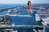 bridge brunette cars chain collage giantess helicopters kelly_brook ocean pulling ship swimsuit wonderslug // 2000x1333 // 1.0MB