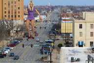 blonde city collage crushed_car giantess high_heels jenni_czech legs running stepped_on street underfoot wonderslug // 3456x2304 // 1.5MB