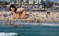 beach black_hair chew crlvr giantess swimsuit teeth vore water // 3784x2348 // 2.4MB