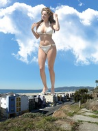 barefoot beach bikinis buildings clouds collage giantess kelly_brook ocean sky wonderslug // 2000x2676 // 1.5MB