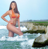 bikinis brunette cleavage cliffs collage giantess looking_at_viewer ocean swimsuit wading wonderslug // 2269x2359 // 1.1MB
